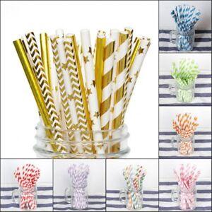 10-20-50PCS-Color-Stripe-Kraft-Paper-Drinking-Straw-Wedding-Party-Tableware