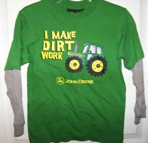 NEW John Deere Toddler Boys Green Long Sleeve Tractor T-Shirt Size 2T 3T 4T
