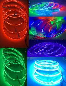 "4x17.5"" Double Row LED Illuminated Car Truck Wheel Ring Light Colorshift Dynamic"
