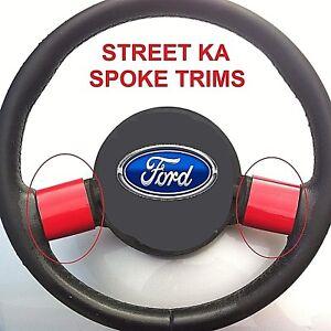FORD-STREETKA-STEERING-WHEEL-SPOKE-TRIMS-2003-05-SPORTY-GLOSS-RED-WRAPS