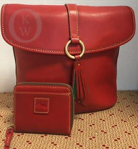 eb3a201bbd NWT Dooney   Bourke RED Florentine Large Dottie with matching Wallet ...
