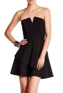Adelyn Rae ~Black Split Neck Strapless Layered Fit   Flare Party ... e5155a124