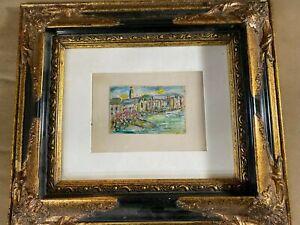 Herbert-Haulman-Ruthrauff-b1894-034-Portofino-1964-034-Watercolor-Painting-Framed