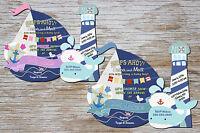Nautical Baby Shower Invitations, Whale First Birthday Invitation, 1st Birthday