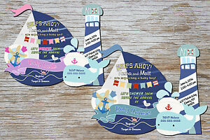 Image Is Loading Nautical Baby Shower Invitations Whale First Birthday Invitation