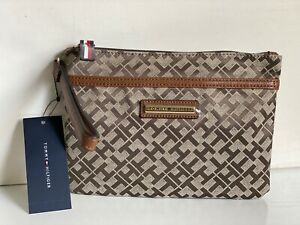 NEW-TOMMY-HILFIGER-BROWN-SIGNATURE-WALLET-CLUTCH-BAG-POUCH-WRISTLET-49-SALE