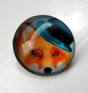 ZP424-Unusual-Domed-Fox-Hat-Eye-Monocle-Pin-Badge-Brooch-Cabochon
