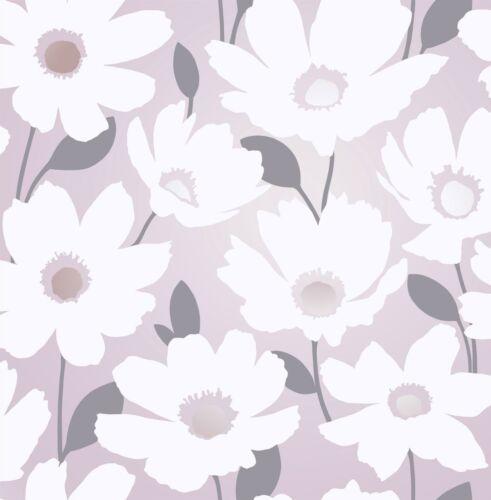 Mia Floral Papier Peint Rose Blush gris blanc métallisé fleurs Shimmer Fine Decor