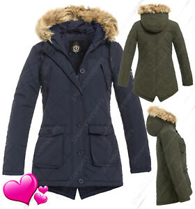 978305d22cbad NEW Womens PARKA COAT Ladies JACKET Padded Quilted Khaki Navy Size 8 ...