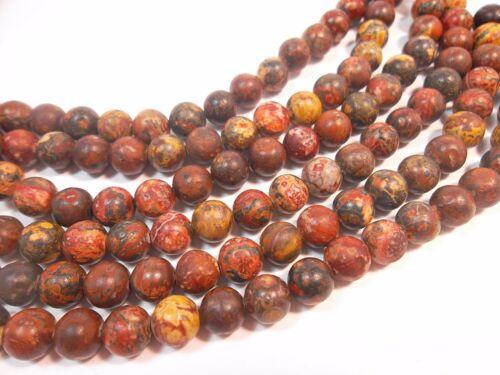 20 gemme perles 8 mm pierre naturelle Rouge Leopard Skin environ 1 Strang g372