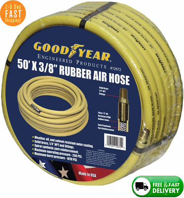 """2 NEW 50 Ft 1//4/"""" Goodyear Rubber Air Hose"""