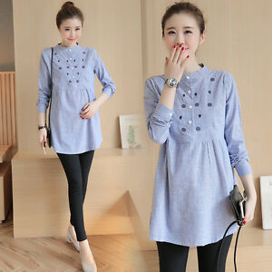 Pregnant-Women-Cotton-Linen-Casual-Shirt-Tops-Pregnancy-Maternity-Clothes-Blouse