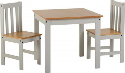 Ludlow 1+2 Dining Set in White//Oak Lacquer or  in Grey//Oak Lacquer.