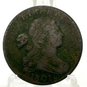 1801-1C-DRAPED-BUST-LARGE-CENT-S-220-R3-034-1-000-034-Error-Fraction-amp-Rotated-Die-Rev
