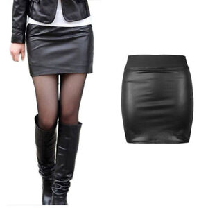 NEW LADIES WOMEN BLACK PVC WET LOOK LEATHER MINI PENCIL TUBE BODYCON SKIRT 8-26