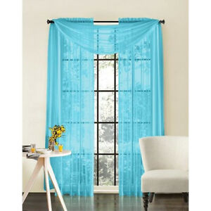 Sheer Voile 2 Piece Turquoise Blue Curtain Panel Solid Window Treatment 84 Long Ebay