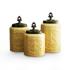 3 Piece Set American Atelier Antique Canisters Ceramic - Creamy Yellow New