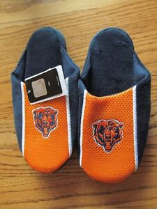 a54c50bb Details about CHICAGO BEARS Youth Plush & mesh Scuff SLIPPERS~Kids Size  MEDIUM (3-4)~NWT