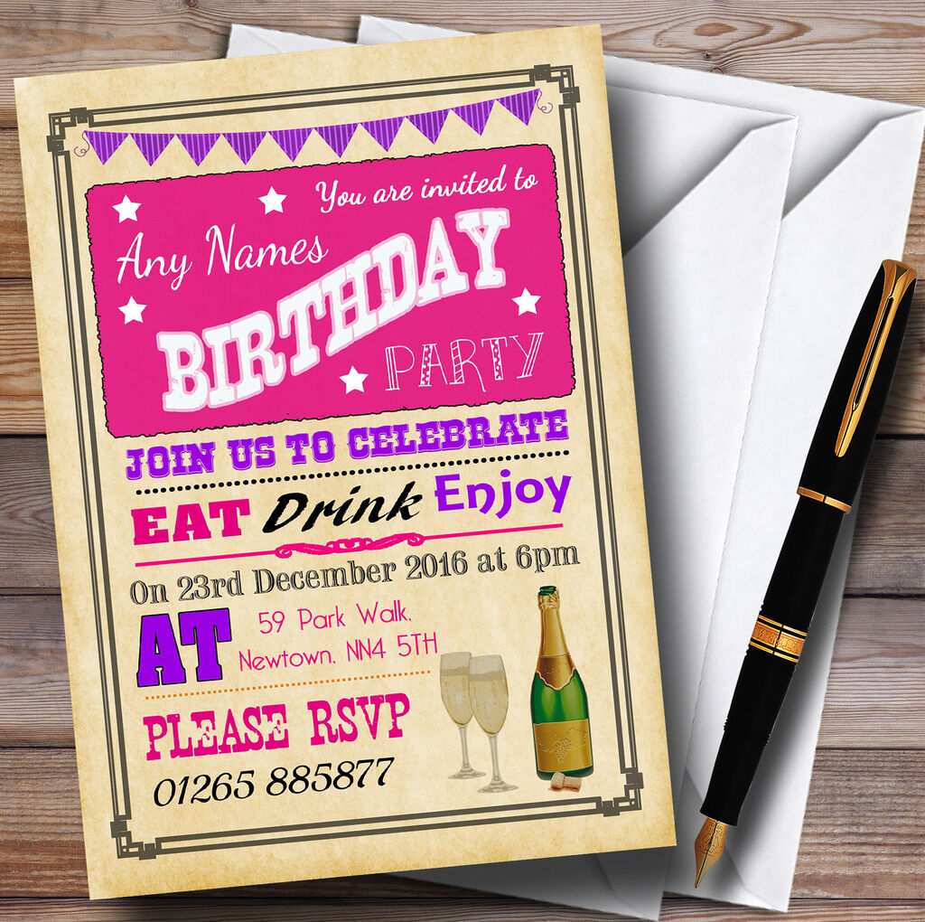 Parchment Vintage Pink Purple Personalised Birthday Party Invitations