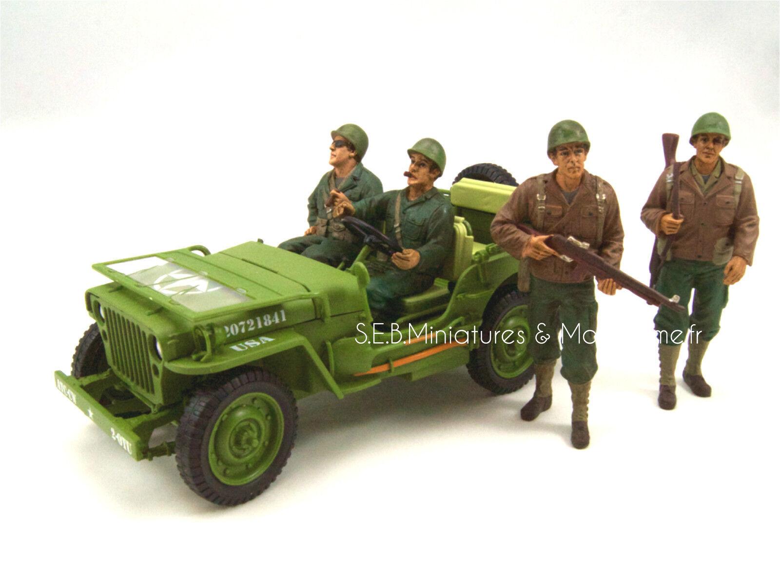 JEEP WILLYS U.S. ARMY VERSION VERT OLIVE 1942 + 4 FIGURINES 1 18 triple9
