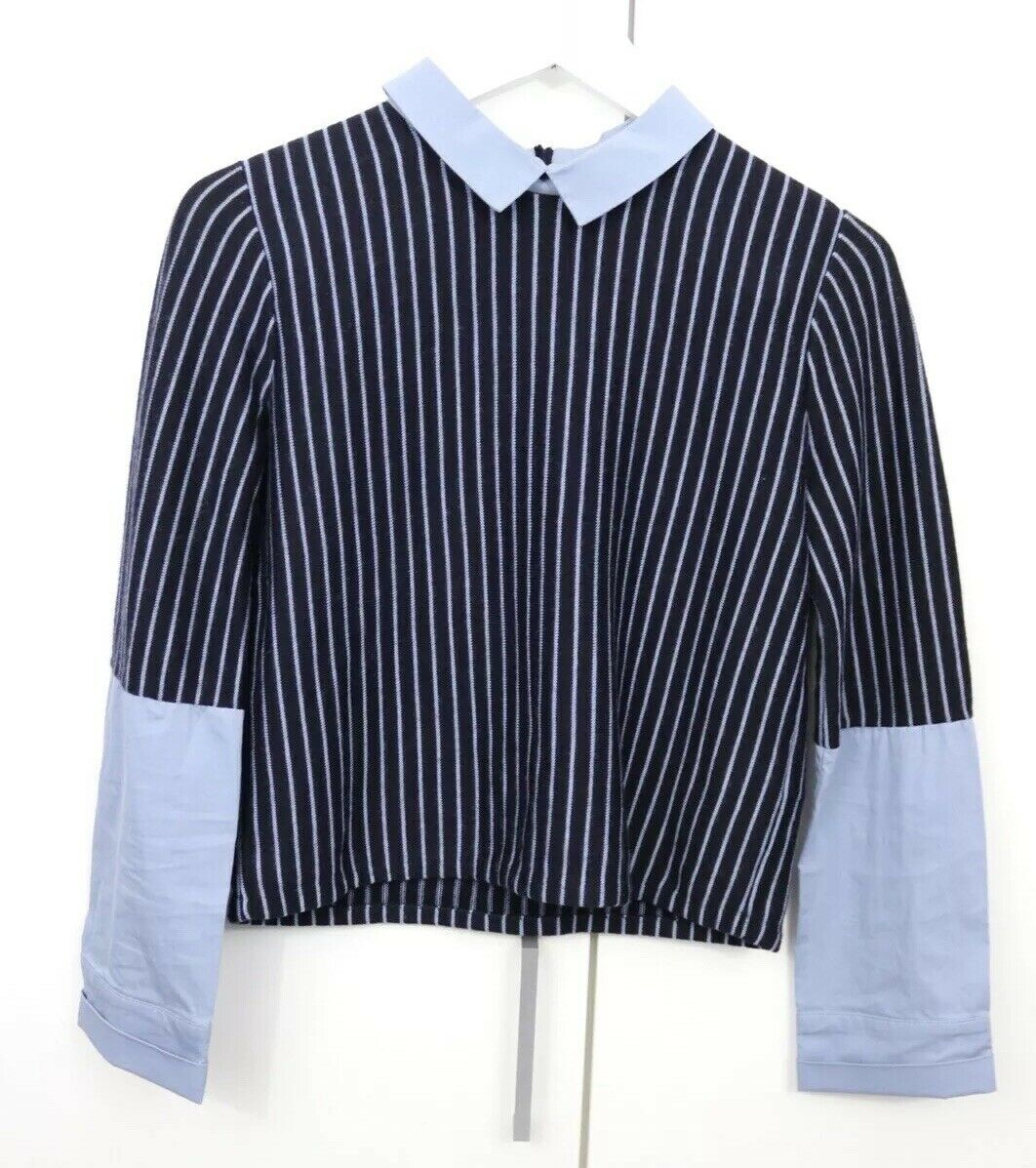 Ladies COS Shirt Box Top Jumper  Grunge Blogger Blau Größe S 8 10 Long Sleeve