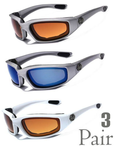 3 Pack Choppers Padded Foam Wind Resistant Anti-Reflective Motorcycle Sunglasses