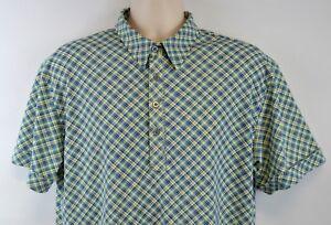 Guess-Men-039-s-L-Retro-Polo-Shirt-Argyle-Plaid-Blue-amp-Yellow-Large