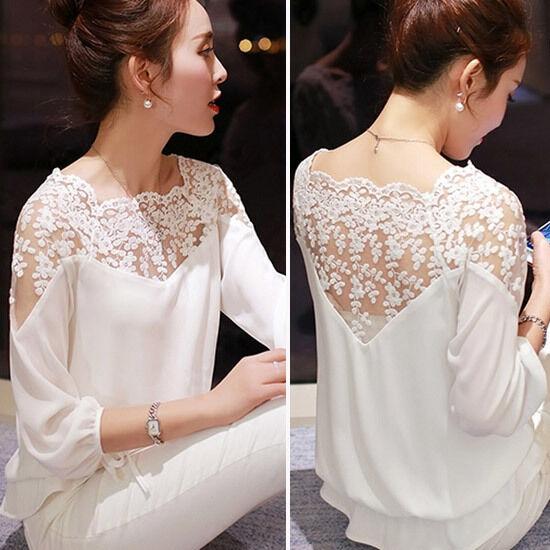 Fashion Ladies Womens Chiffon Lace Crochet Long Sleeve Shirt Casual Blouse Tops