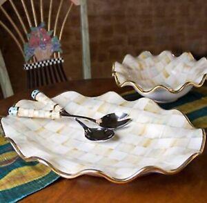 "Mackenzie-Childs Parchment Check Large Serving Platter -  22"" - RARE"