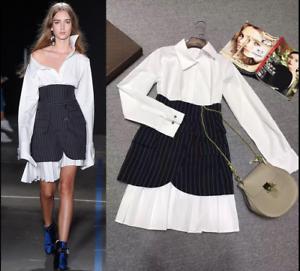 b5e48066a 2PCs Runway Womens Trend Layer Mini Skirt Over Shirting Shirt Dress ...