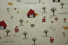 Fabric Little Red Riding Hood LINEN Cotton Blend FQ Quilting Baby kids material