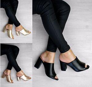 Senoras-Mujeres-Tacon-Bajo-Peep-Toe-Sin-Talon-abierto-atras-Resbalon-En-Sandalias-Zapatos-Talla
