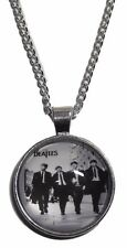 "The BEATLES Rock Band Logo GLASS DOME Pendant Necklace with 20"" Chain"