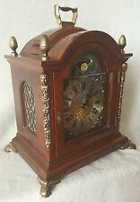 Warmink Mantel Shelf Clock Moonphase Nut Wood Case Strikes Double Bell 28cms BIG