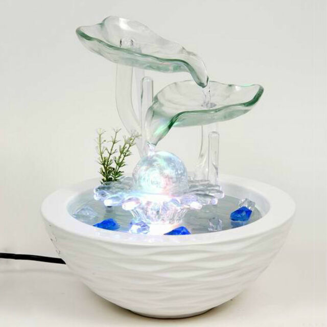 Glass Lotus Ceramic Indoor Fountains Feature Water Humidifier Desktop Home Decor