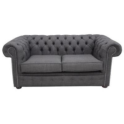 Chesterfield 2 Seater Charles Linen Charcoal Grey Sofa Settee