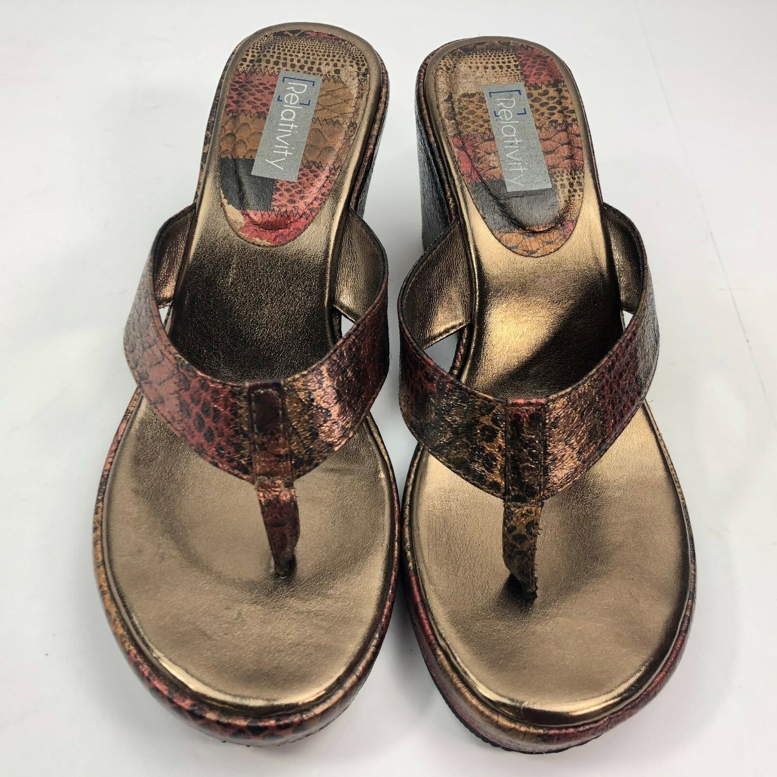 Relativity Wedge Heel Ladies Size Sandals Beautiful Copper/Red/Black  Size Ladies 7-8  A2003 56513b