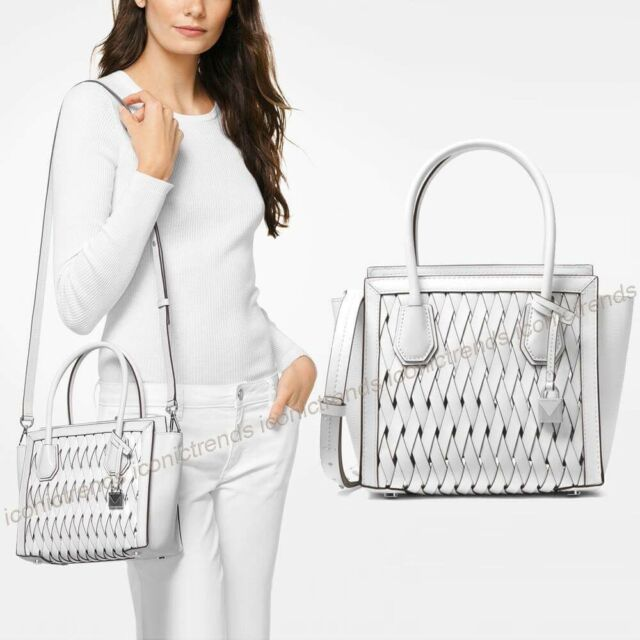 f9c5e06baca0 NWT 🌸 Michael Kors Mercer Studio Medium Messenger Woven Leather Bag Optic  White
