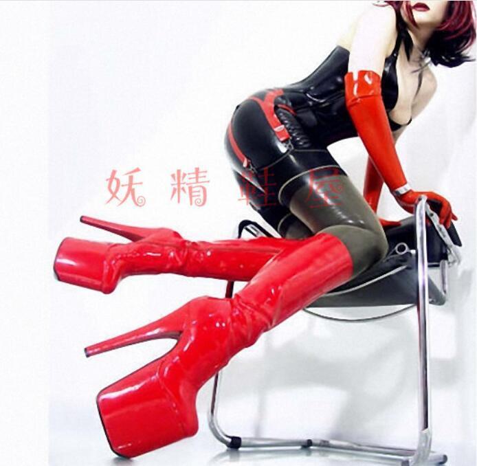 20 CM Super High Heel Platform Platform Platform Women's Sexy Nightclub shoes Leather Party Boots 4c0f7c