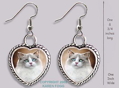 RUSSIAN BLUE Cat HEART EARRINGS Ornate Tibetan Silver