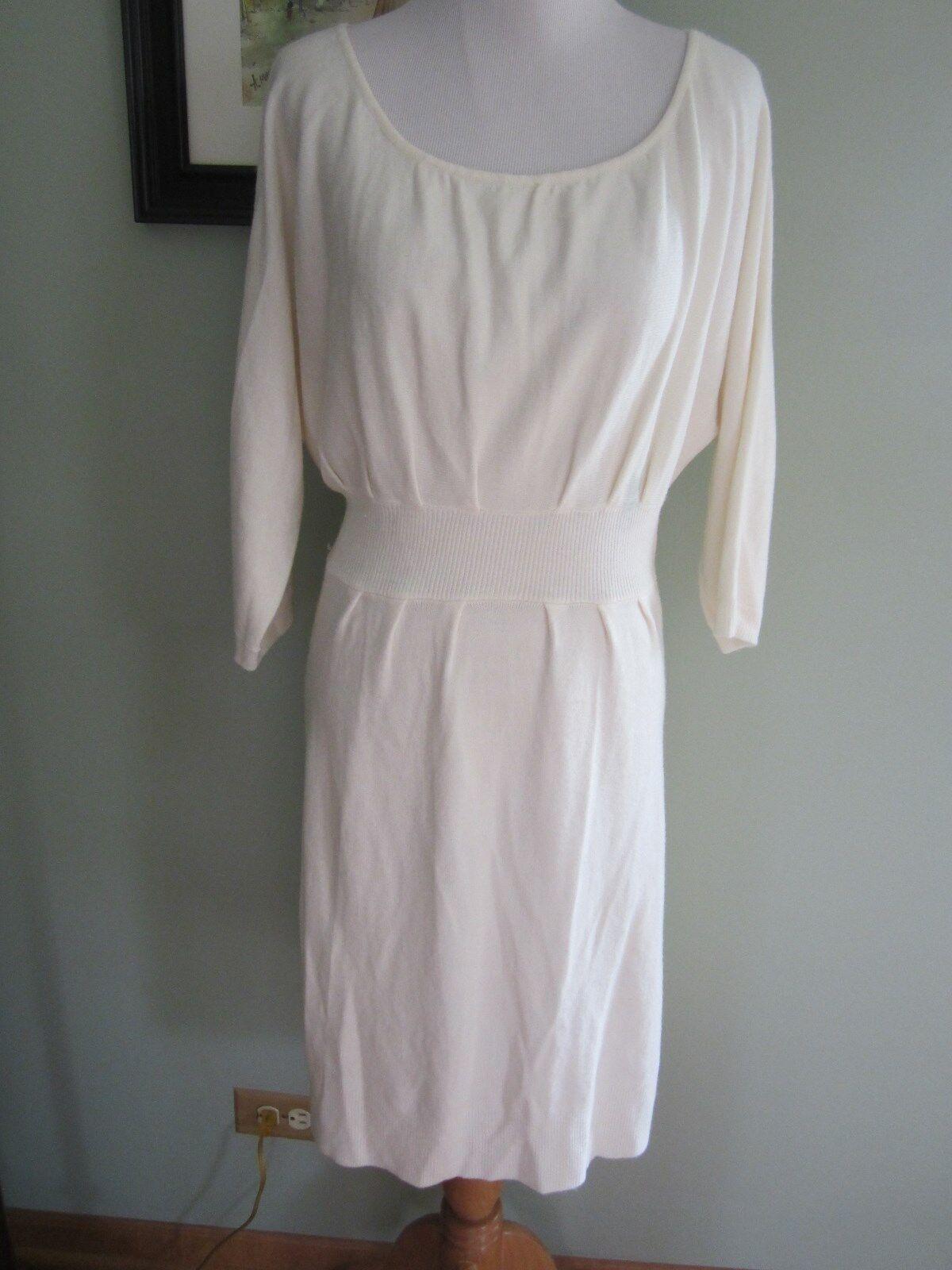 Arden B Ivory Cream 3 4 Sleeves Acrylic Sweater Dress Size L