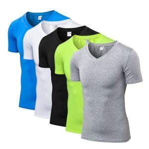 Men-039-s-Compression-V-Neck-Sport-T-shirt-Short-Sleeve-Fitness-Workout-Skin-Shirt