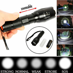 10000LM Tactics Zoomable XML T6 Military LED Flashlight Focus Torch Lamp Light