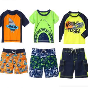 55fa7c09d3 Gymboree Boys Swimwear 2T 3T 4T Rash Guard Set Swim Shark Surf Green ...