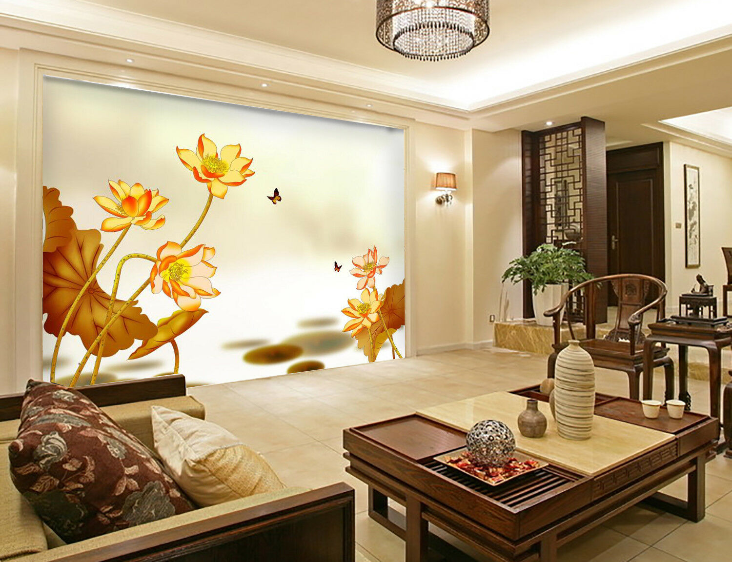 3D Golden Lotus 99 Wallpaper Mural Wall Print Wall Wallpaper Murals US Carly