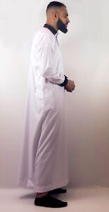 Mens-Designer-034-The-Man-034-Jubba-Design-Slim-Fit-White-Velvet-Trim-Thobe-UK-SELLER