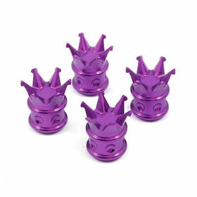 8 Chrome King Crown Tire//Wheel Valve Stem CAPS Valve Cap Car Truck Purple