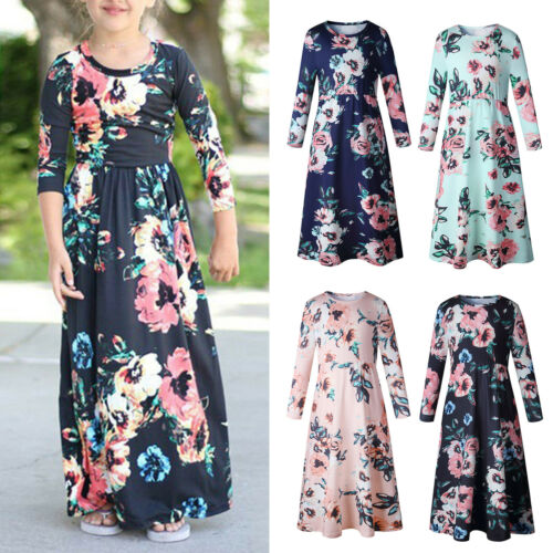 Kids Girls Long Floral Maxi Dress Summer Holiday Beach Party Boho Dresses 2-10Y