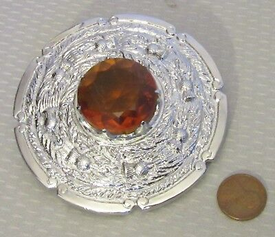 Sterling Silver Kilt Pin with Citrine Colored Glass