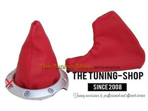 For-MG-MGTF-2000-05-Gear-amp-Handbrake-Boot-Red-Genuine-Leather